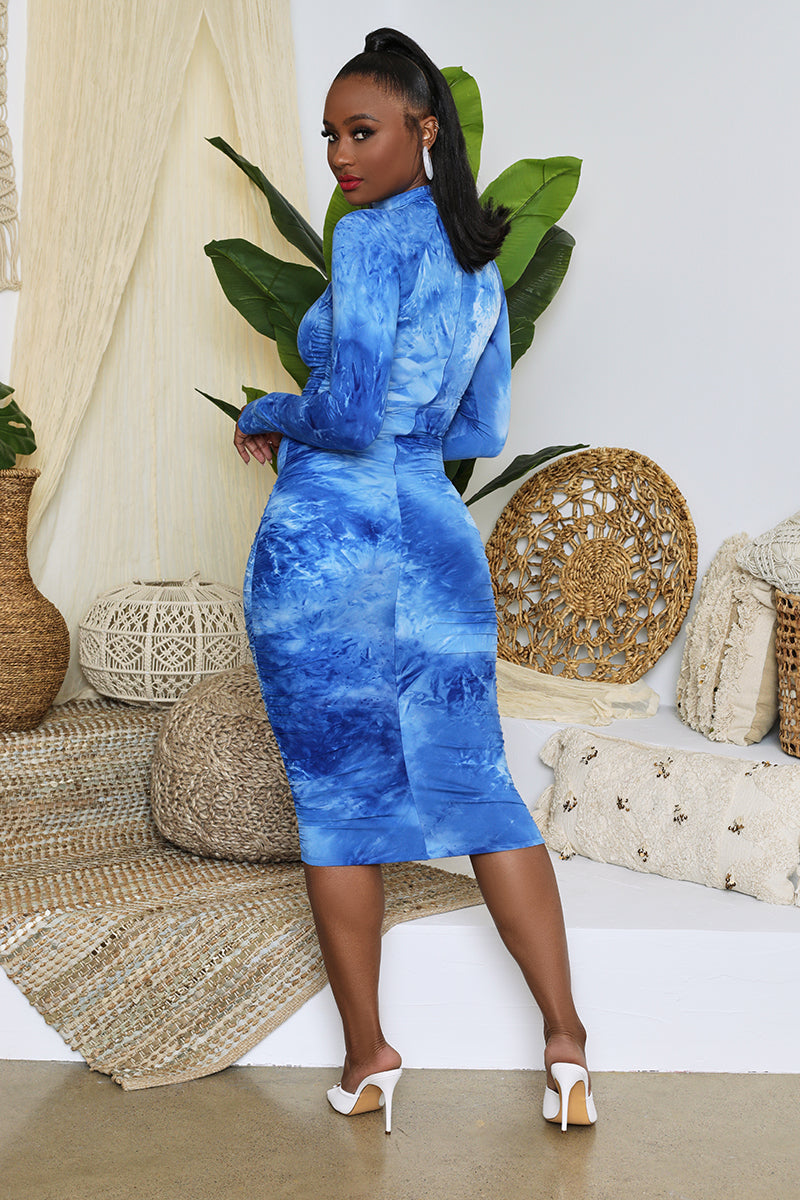 Tie Dye Long Sleeved Ruched Bodycon Maxi (Blue)- FINAL SALE