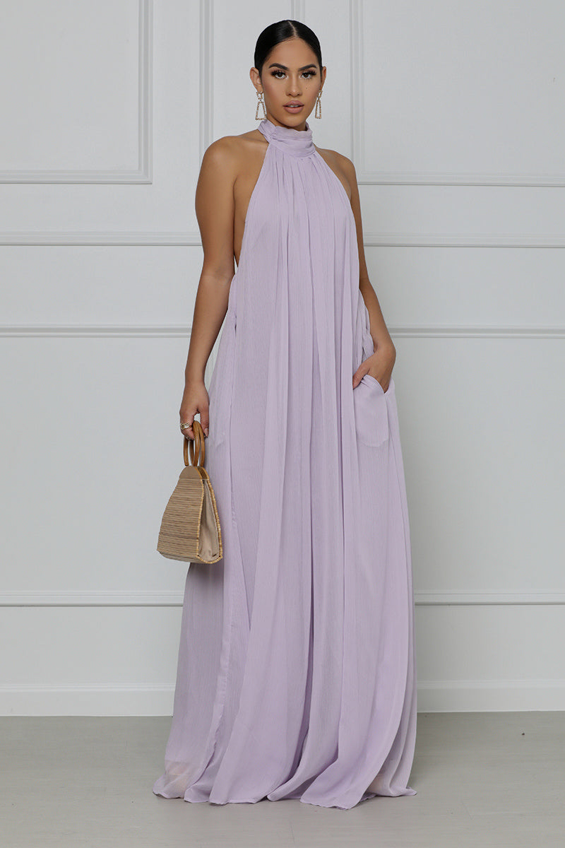 Crushin' On You Halter Top Wide Leg Jumpsuit (Lavender)