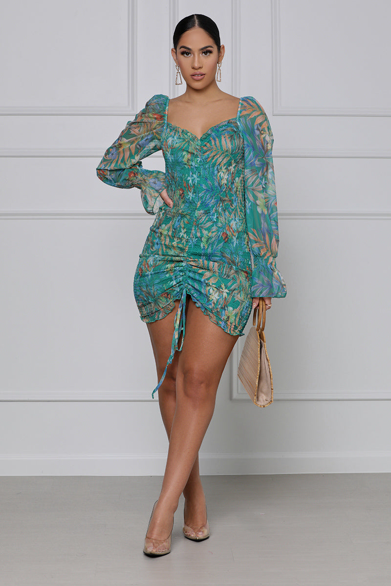 Tropical Threat Ruched Mini Dress (Blue Multi)