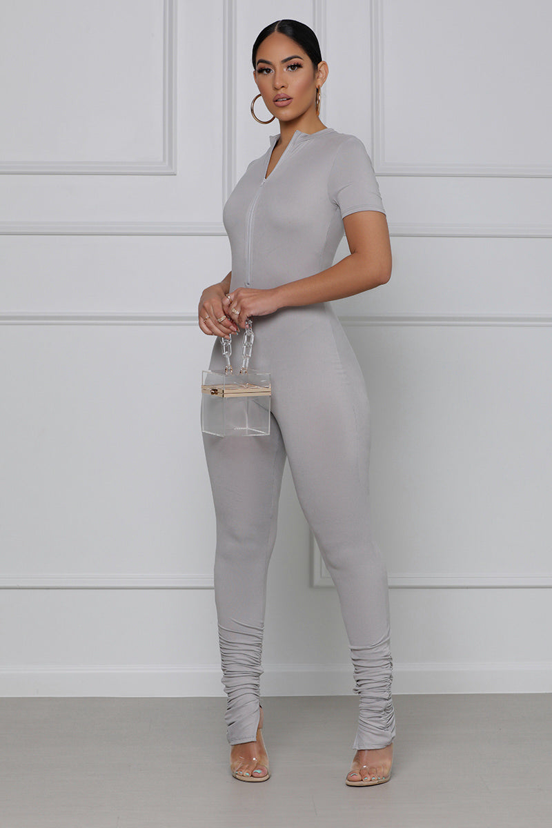 Make it Right Stacked Leg Jumpsuit (Grey)