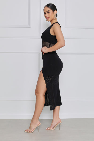 Spoil Me High Slit Midi Knit Dress (Black)