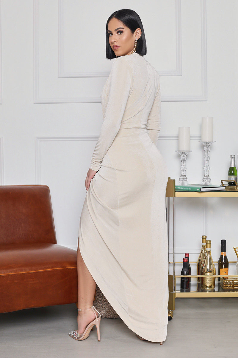 You're Glowing High Slit Plunge Neck Maxi Dress  (Cream)