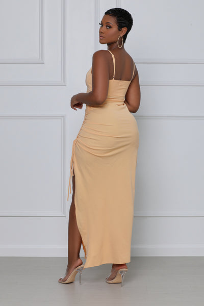 Ready and Ruched Midi Dress (Light Peach)