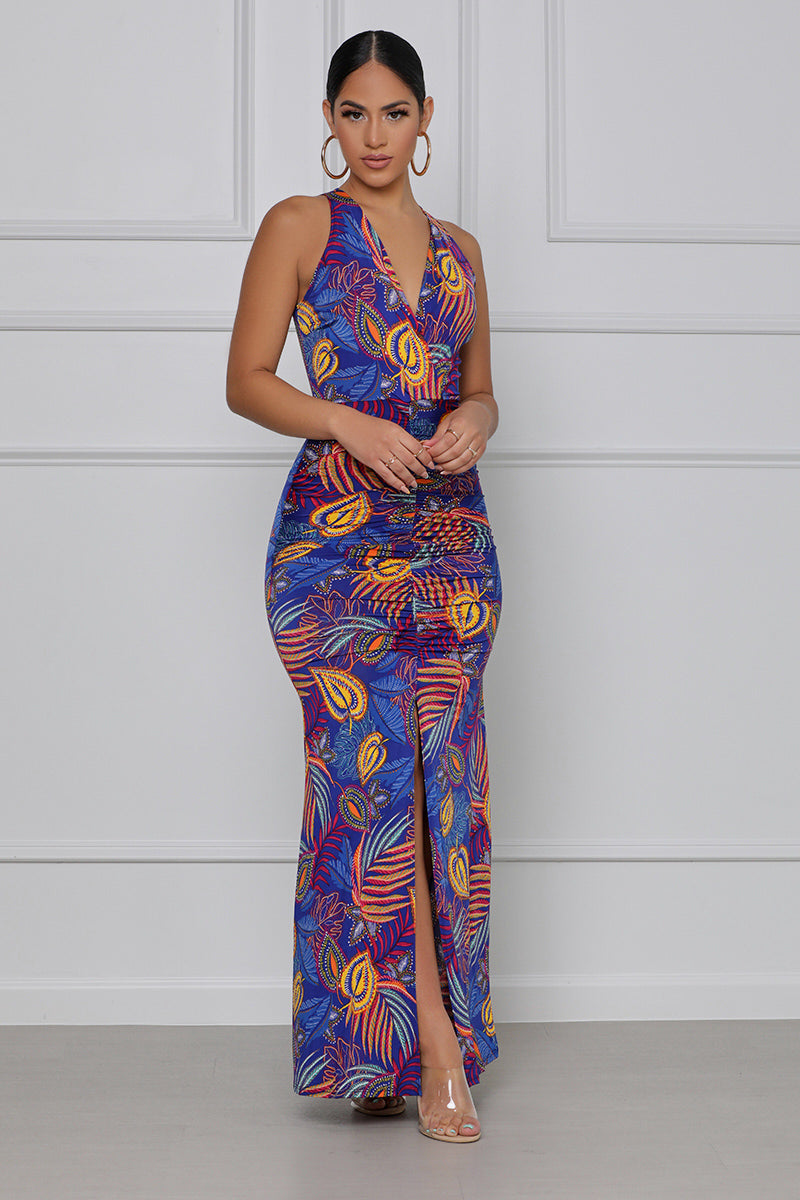 She's a Wildcard Ruched Maxi Dress (Blue Multi)
