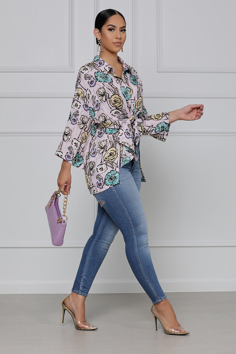 Meadow Breeze Floral Button Up Shirt (Pink Multi)