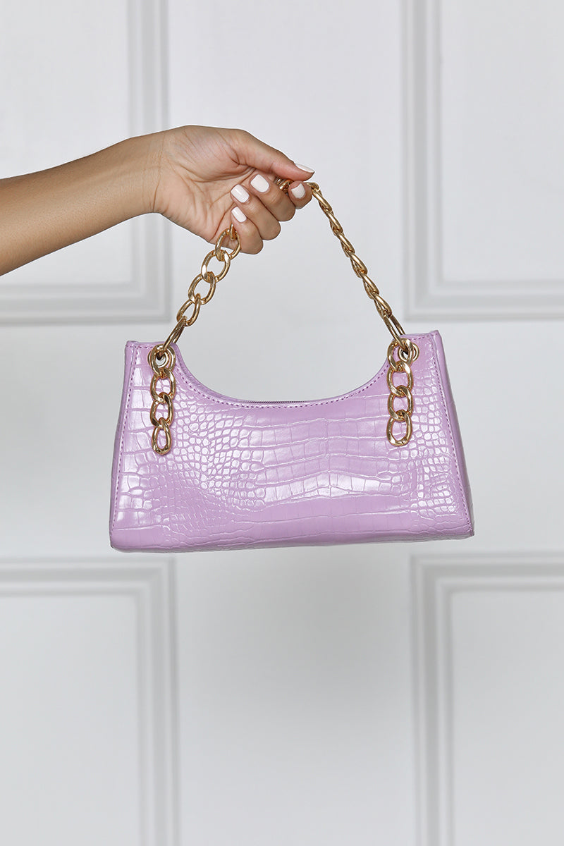 Gold Chain Faux Croc Mini Bag- Lavender- FINAL SALE