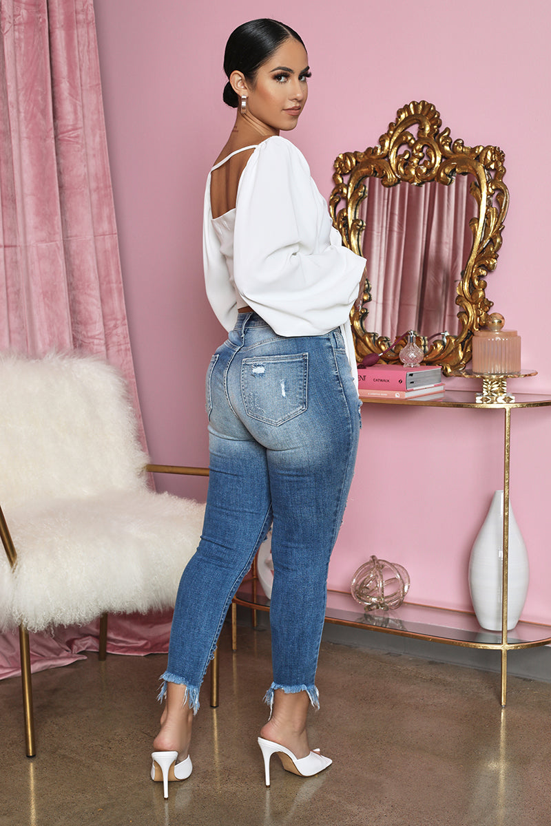 High Waist Distressed Skinny Jeans (Light Wash)