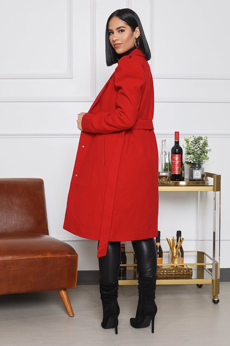 Puff Sleeve Coat (Red)