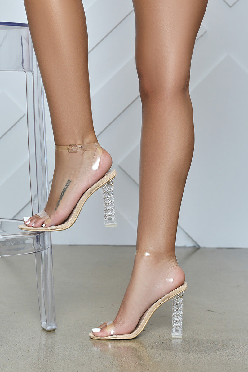 Dimmy Clear Ankle Strap Block Heel (Nude)