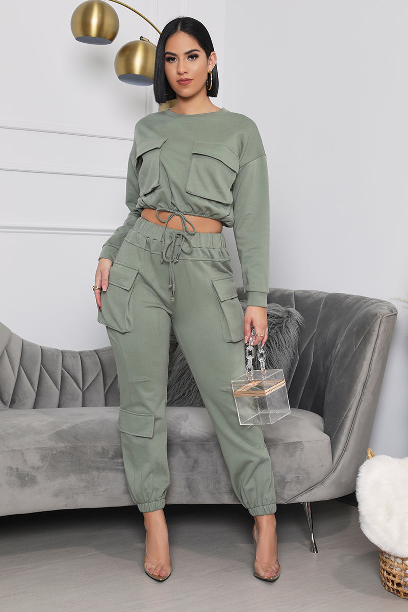 On the Go Cargo Jogger Set (Olive Green)