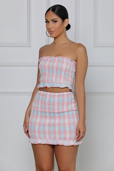 Give Me More Ruffled Bandeaux Skirt Set (Pink Multi)