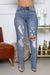 Hit the Streets Split Hem Distressed Mid Rise Jeans