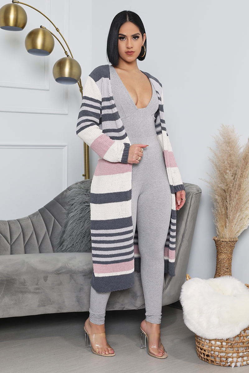 Cover Me in Stripes Midi Knit Cardigan (Multi)