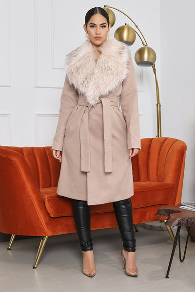 Faux Fur Collar Long Coat (Nude)