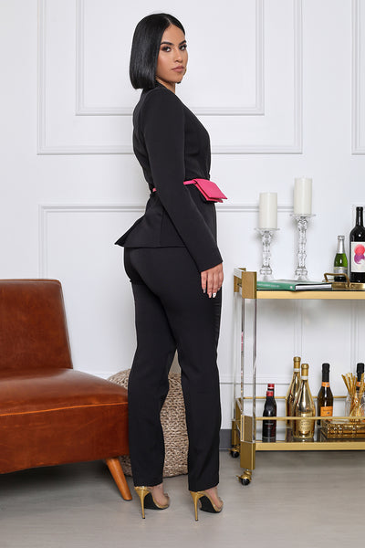 Here's My Card Boss Babe Blazer Suit Set with Wallet Belt (Black/Pink)