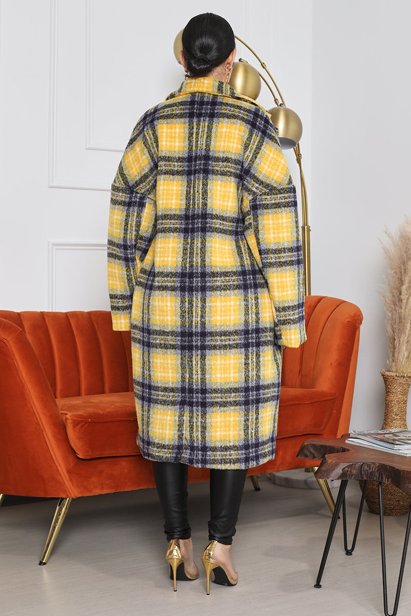 Long Plaid Coat (Yellow/Blue)