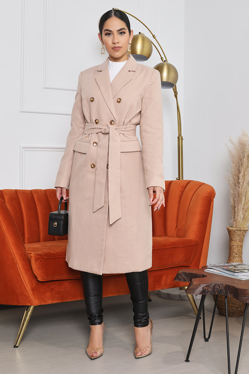 Double Breast Trench Coat (Tan)