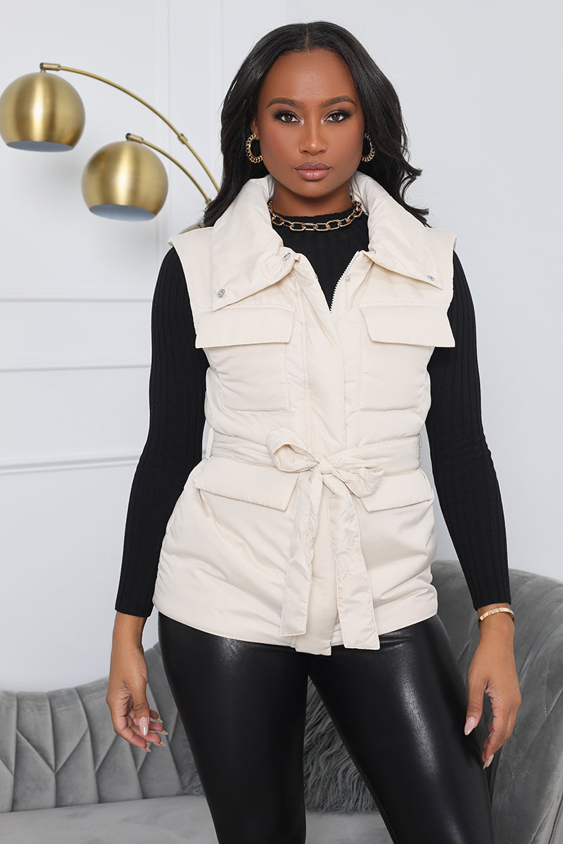 Here for It Puffer Vest - Cream