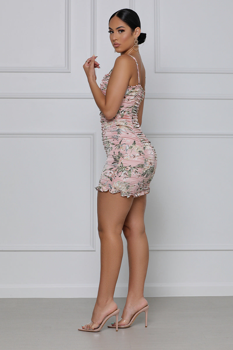 Lasting Lover Floral Ruched Mini Dress (Pink Multi)