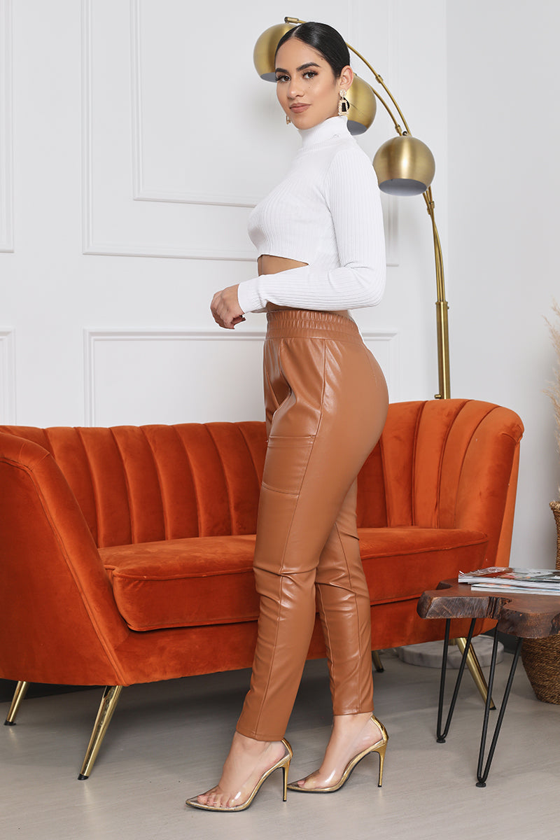 The Faux Leather Jogger Pants (Camel)