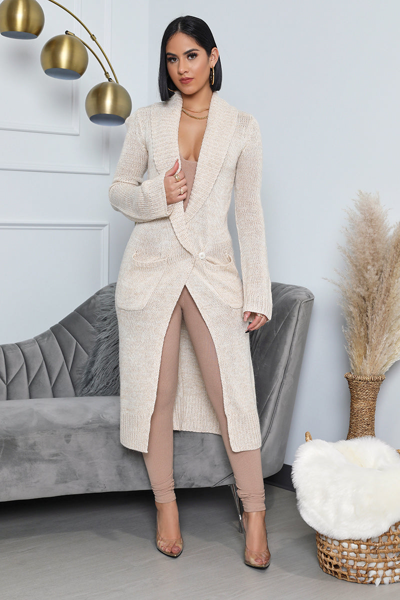 Long Cardigan with Collar - Cream