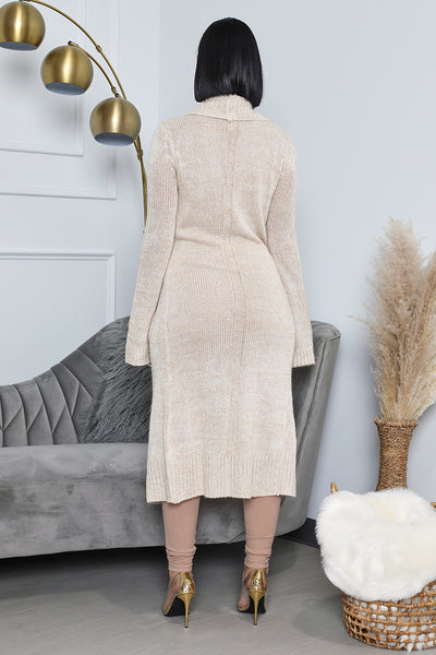 Long Cardigan with Collar - Cream- FINAL SALE