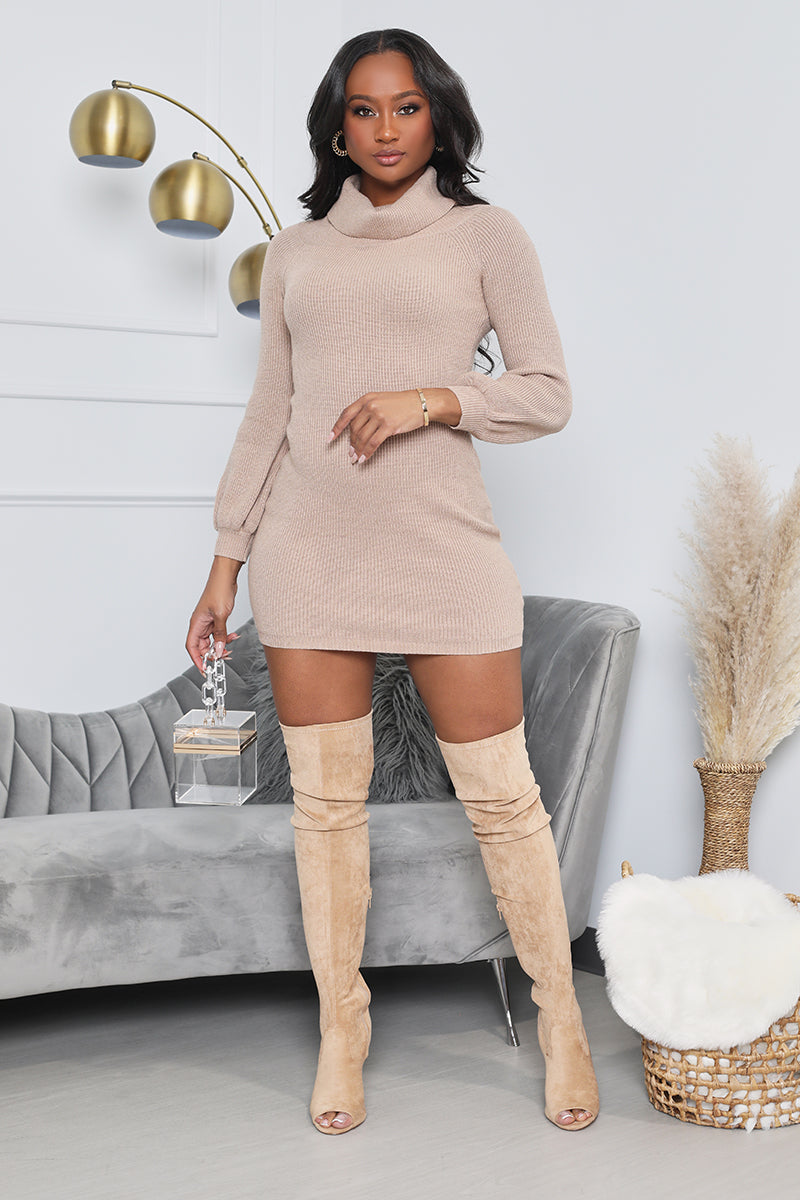 I'm Yours Turtle Neck Sweater Dress (Tan)- FINAL SALE