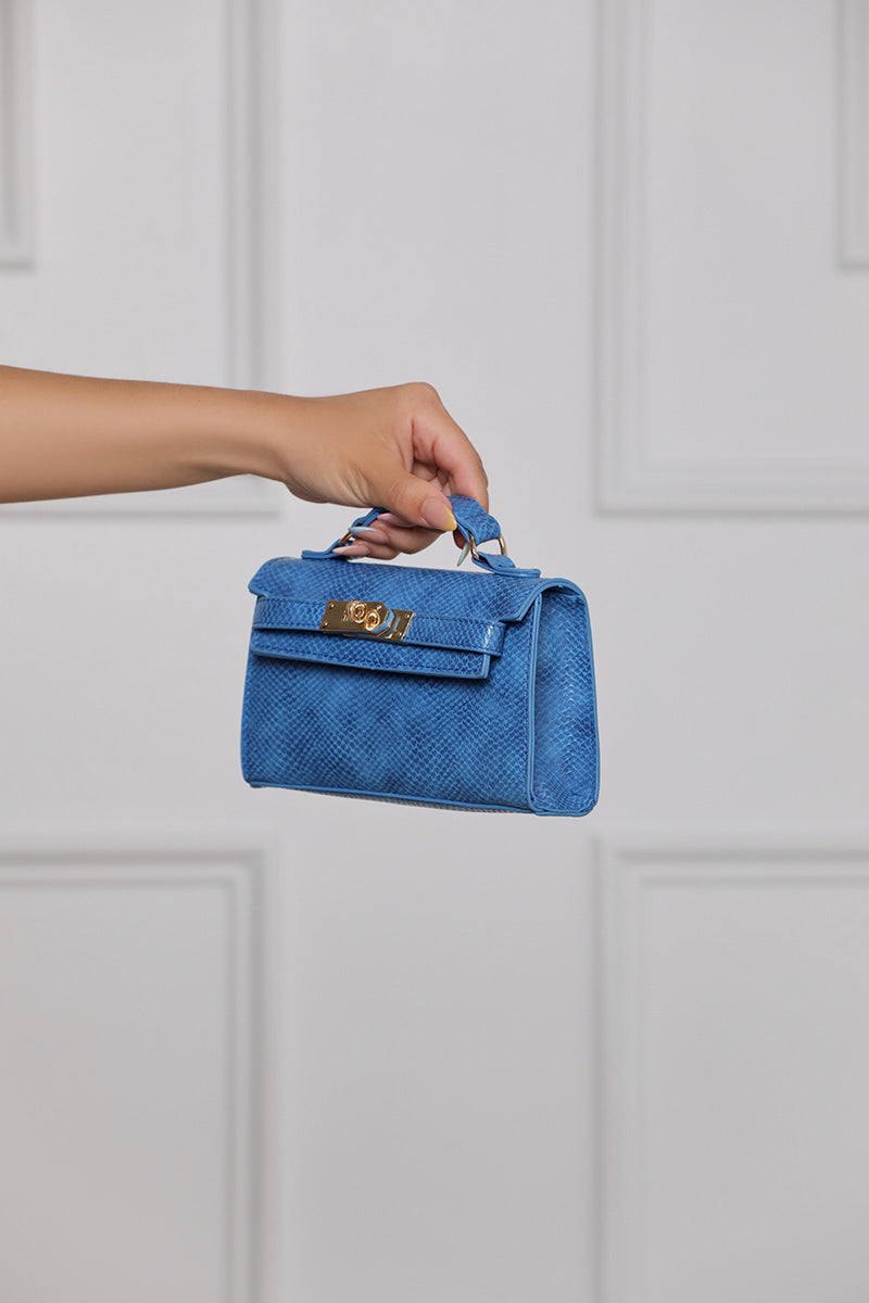 Georgina Snake Crossbody Bag (Blue Snake)