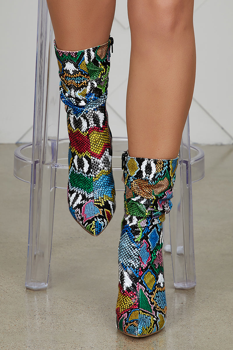 Liana Booties (Multi Color Snakeskin)- FINAL SALE