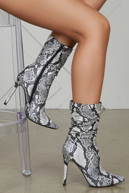 Liana Booties (Black Snakeskin)