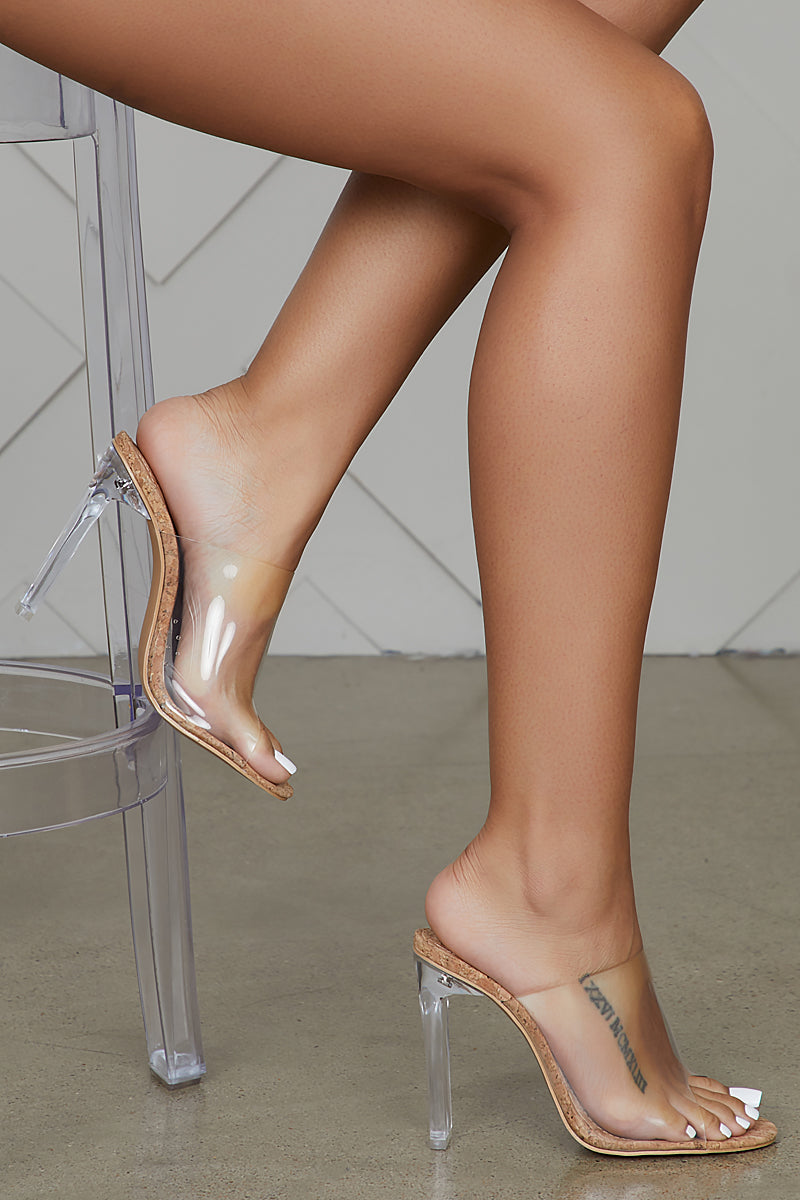 Reno Clear Mules (Cork) by Lilly's Kloset