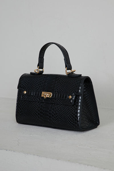 Mini Croc Embossed Bag (Black)