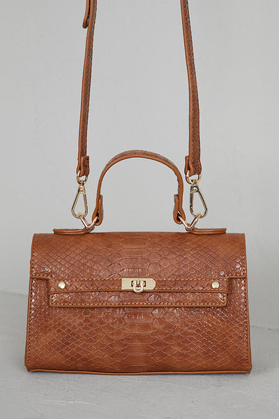 Mini Croc Embossed Bag (Brown)