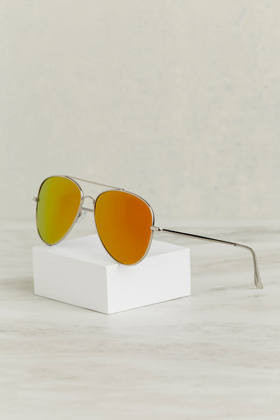 Mirror Mirror Aviator Sunglasses (Orange)- Final Sale