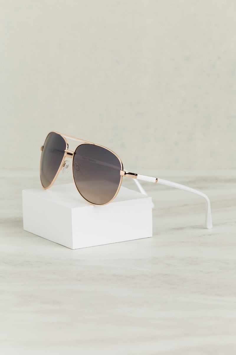 Throwing Shade Aviator Sunglasses (White)