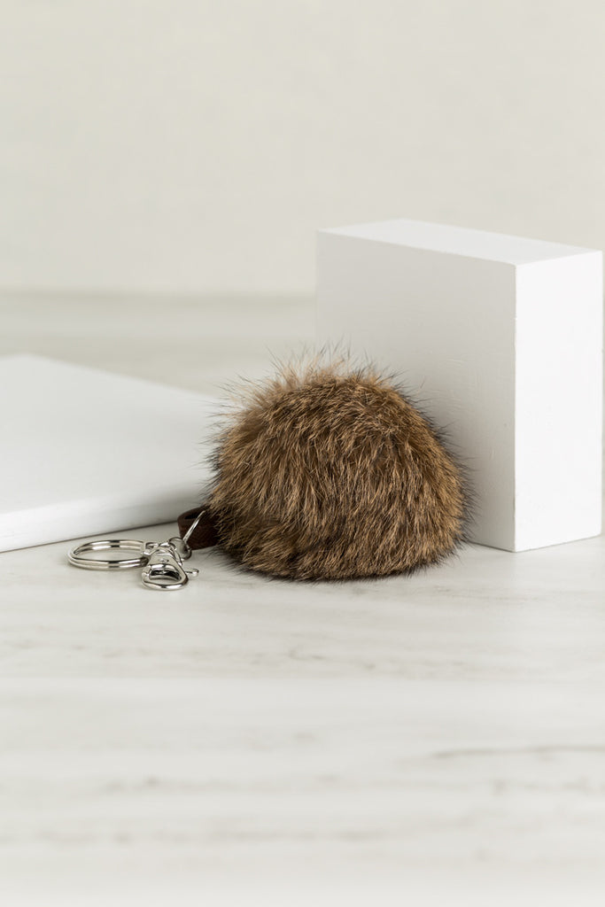 Fuzzy Keychain (Brown)