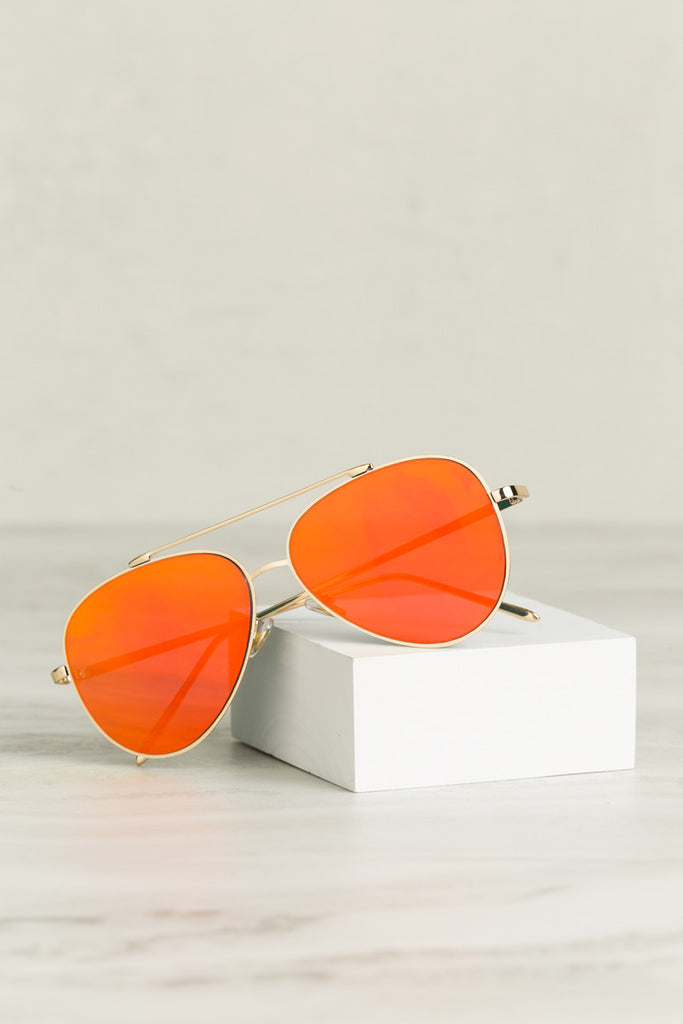 Eye See You Sunglasses (Red Orange)