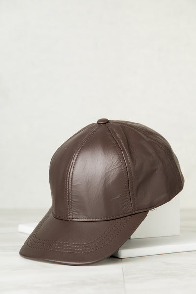 Genuine Leather Baseball Cap (Chocolate)