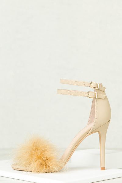 Dejavu Faux Fur Heels (Nude)- Final Sale