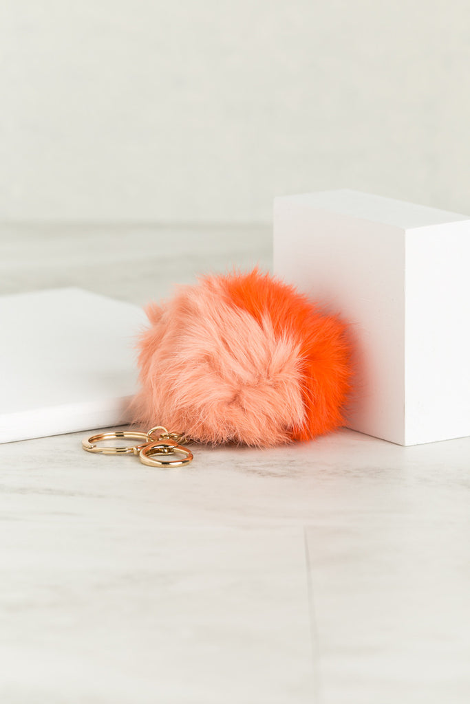 Color Block Fuzzy Bag Charm (Peach-Salmon)