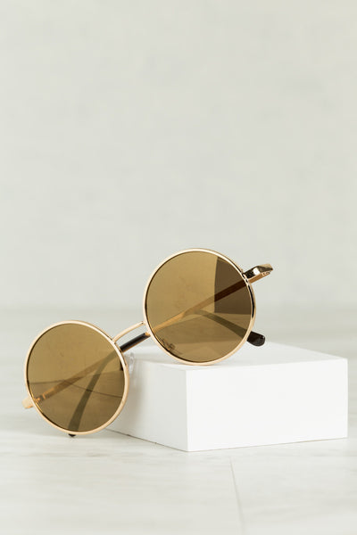 Round & Round We Go Sunglasses (Gold)