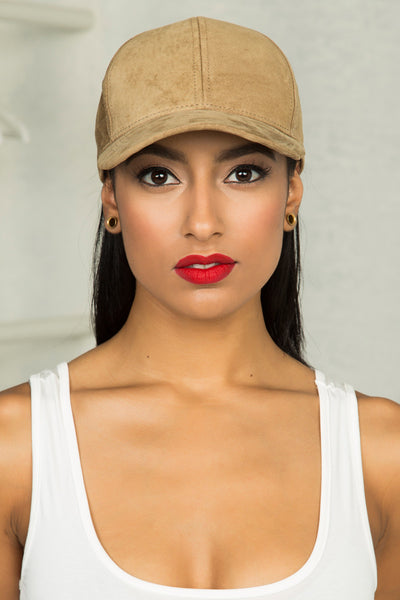Genuine Suede Baseball Cap (Khaki)- Final Sale