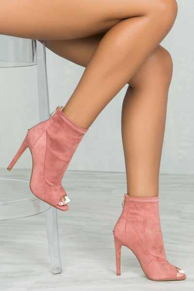 Corina Peep Toe Bootie (Dusty Rose)