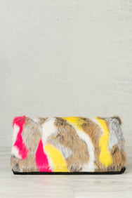 Not Fur Real Multi Color Clutch (Brown)- FINAL SALE