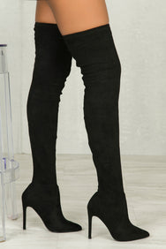 Gigi Thigh High Stretch Boot (Black)- FINAL SALE