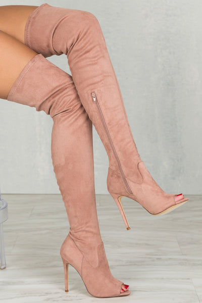 Lori Thigh High Peep Toe Boot (Blush)- FINAL SALE