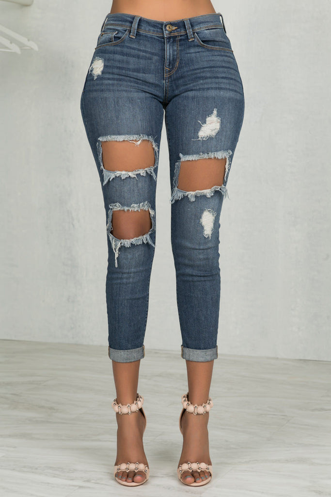 Distressing Me Out Cuffed Jeans- FINAL SALE