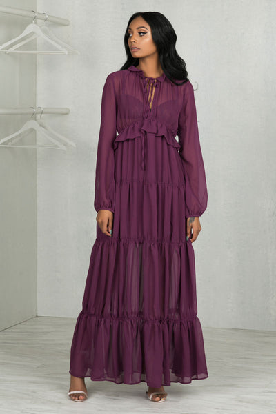 Baby Girl Maxi Dress (Plum)