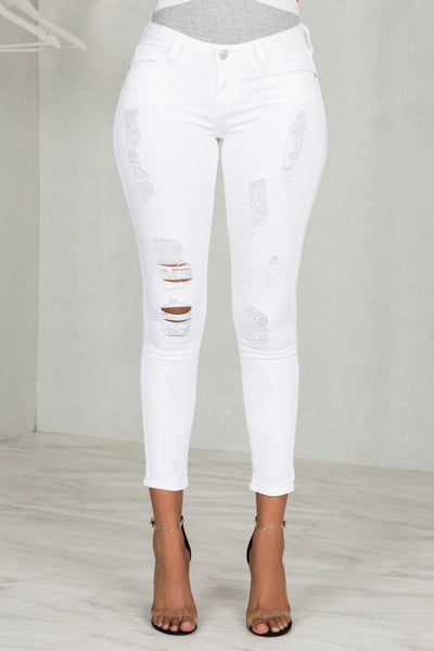 Destroyed Skinny Stretch Jeans (WHITE)- FINAL SALE