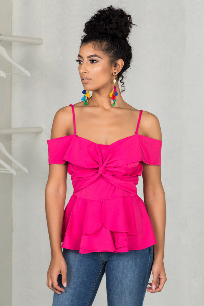 Off The Shoulder Twist Top (Fuchsia)